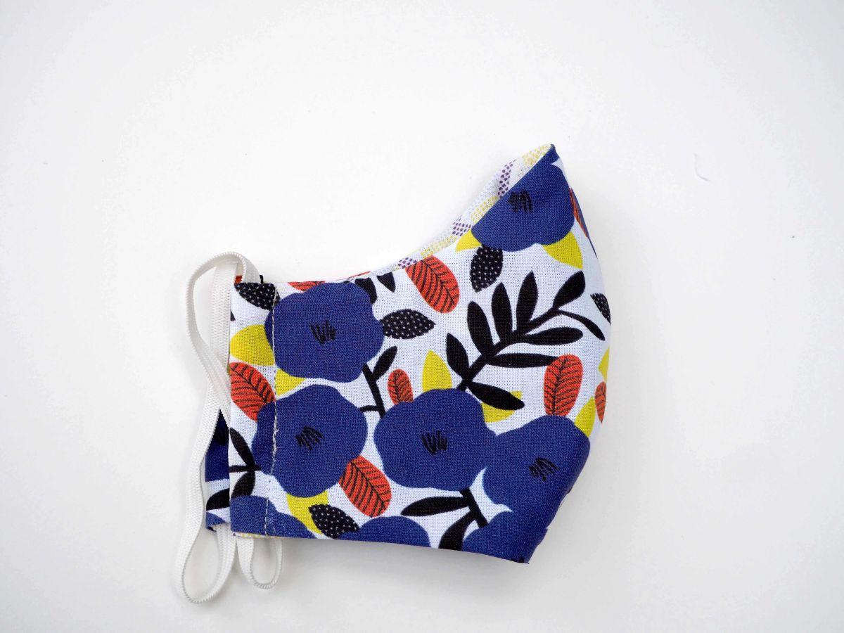 Masque 3 épaisseurs, coton et micro-fibre, petites ton violet avec grandes fleurs et dessins géométriques