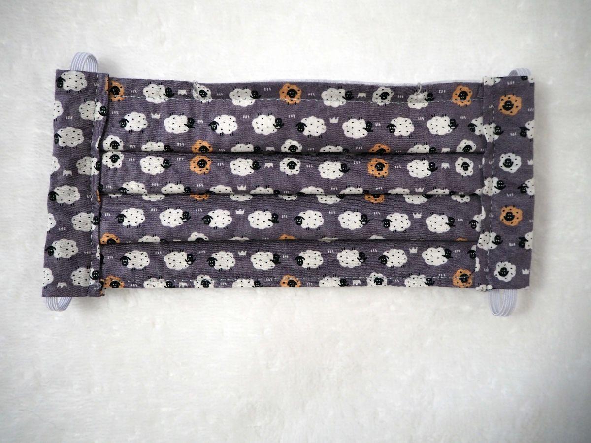 Masque en tissu , plissé, avec pince-nez, 3 épaisseurs, gris; moutons