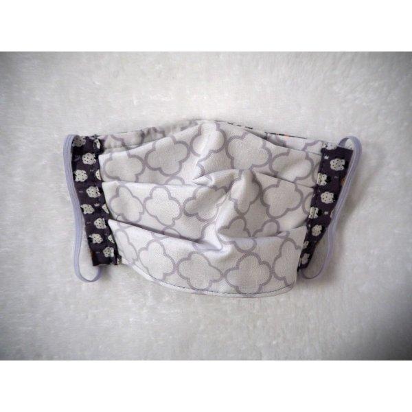 Masque de protection , plissé, avec pince-nez, 3 épaisseurs,  gris, moutons