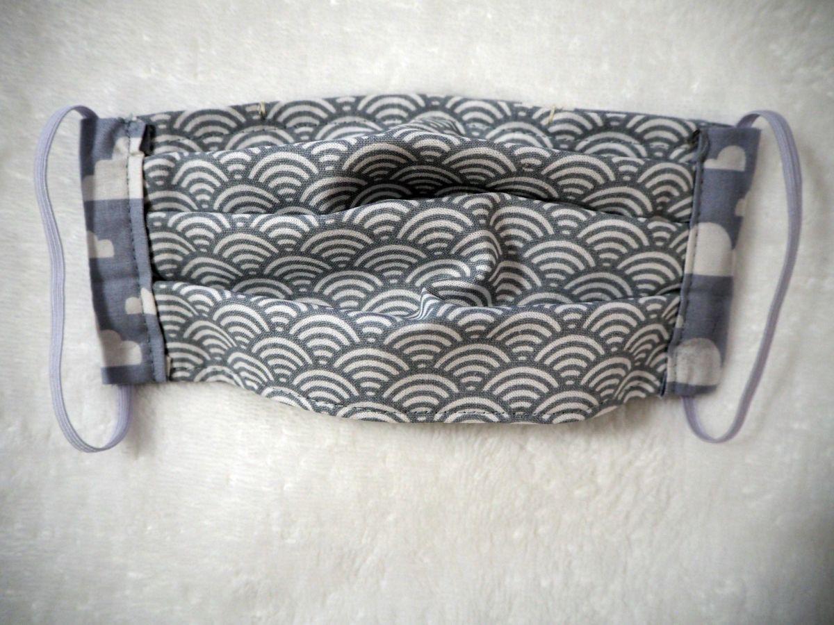 Masque en tissu , plissé, avec pince-nez, 3 épaisseurs, gris, nuages blancs