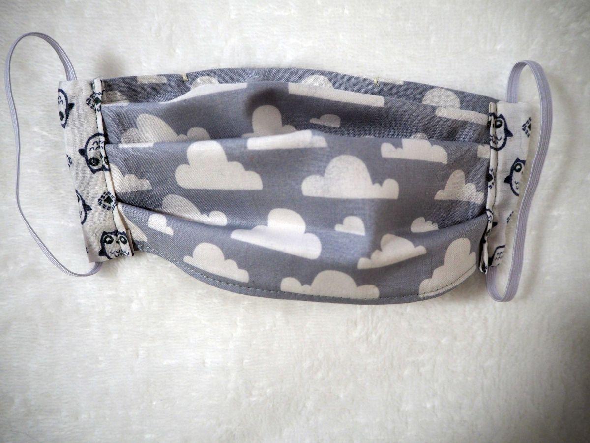 Masque de protection , plissé, avec pince-nez, 3 épaisseurs, chouettes