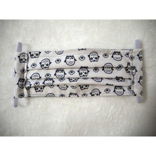 Masque en tissu , plissé, avec pince-nez, 3 épaisseurs, chouettes