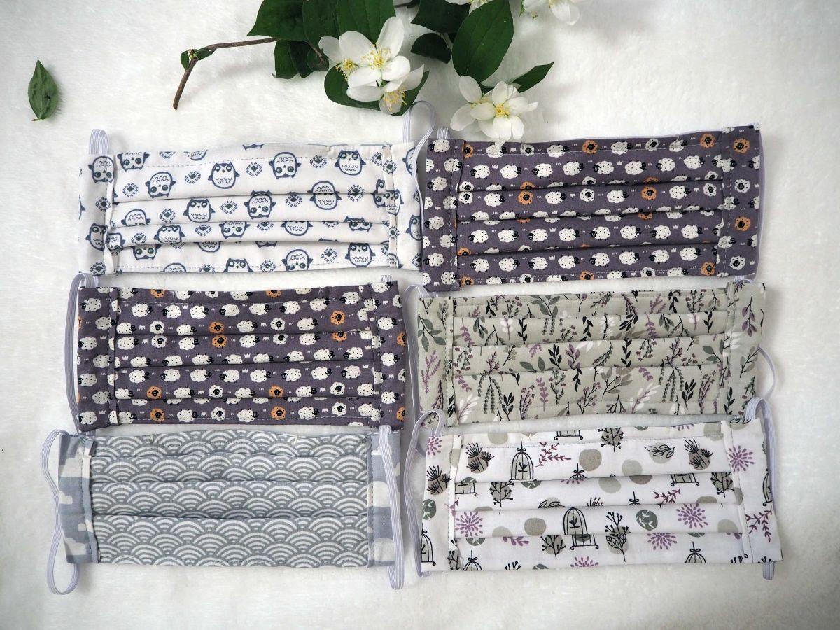 Masque en tissu , plissé, avec pince-nez, 3 épaisseurs, plantes, cage oiseau