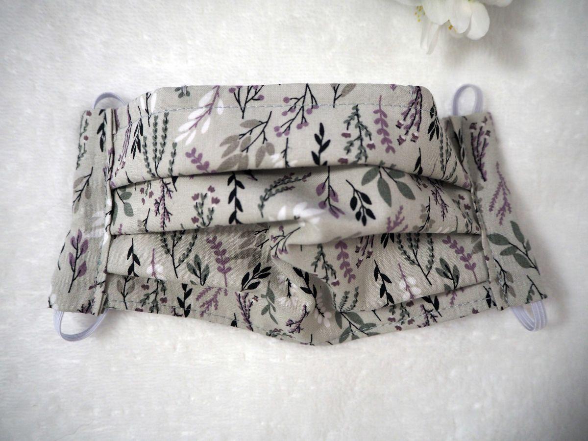Masque de protection , plissé, avec pince-nez, 3 épaisseurs, gris, fleurs