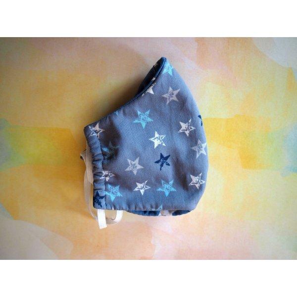 Masque de soin fantaisie, 3 épaisseurs, coton fantaisie avec étoiles, bleu