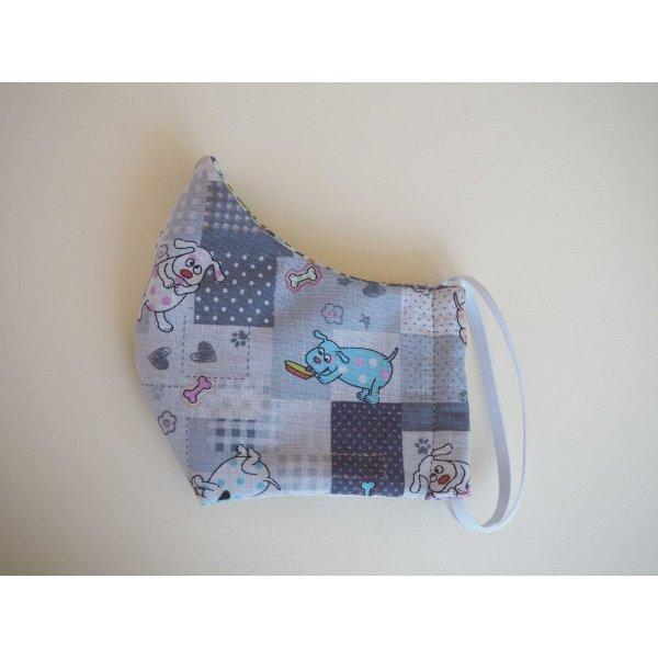 Masque de soin  , 3 épaisseurs, coton fantaisie ton bleu, chiens et géométrique
