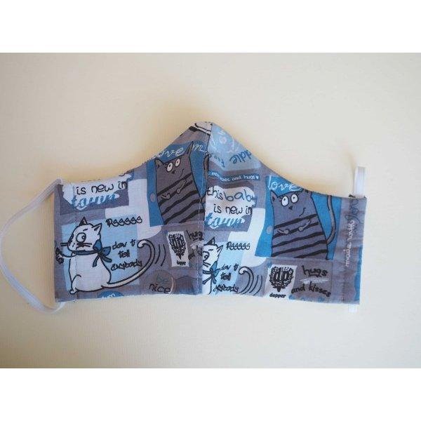 Masque de soin et de protection , 3 épaisseurs, coton fantaisie ton bleu, chats et gouttes