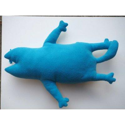 Mignonne minette bleue 57x37cm, coussin déco ou jeu