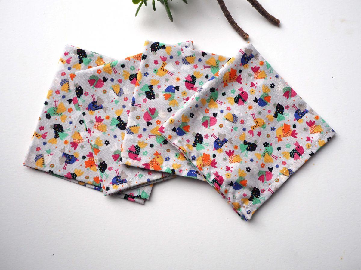 Petit mouchoir/serviette, coton , lavable, réutilisable, 27x27cm, gris petites poules