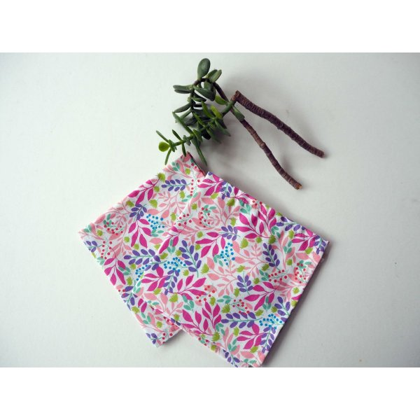 Petit mouchoir/serviette, coton , lavable, réutilisable, 27x27cm, fleur ton rose