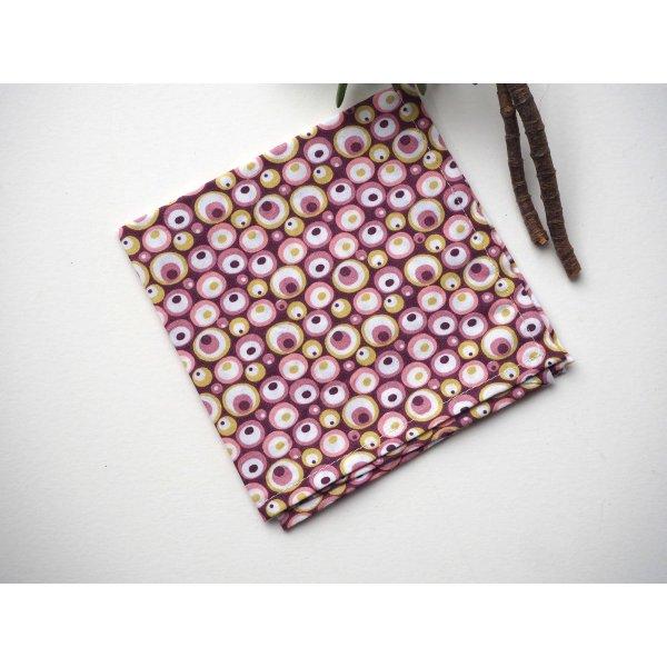 Petit mouchoir/serviette, coton , lavable, réutilisable, 27x27cm, ton rose bulles