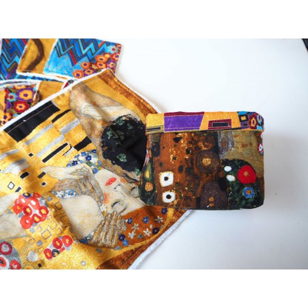 Panier tissu Klimt le Baiser 10 lingettes + 1 serviette lavables, tissu Kaufmann d'après Klimt: le baiser