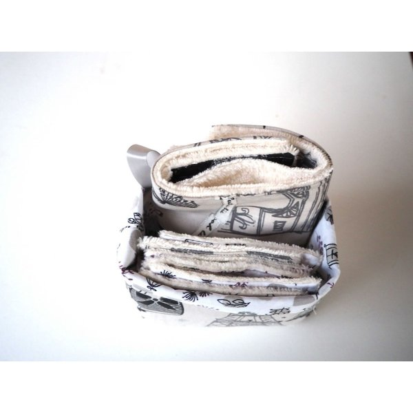 Panier tissu 7 lingettes + 1 serviette lavables, parisienne taupe