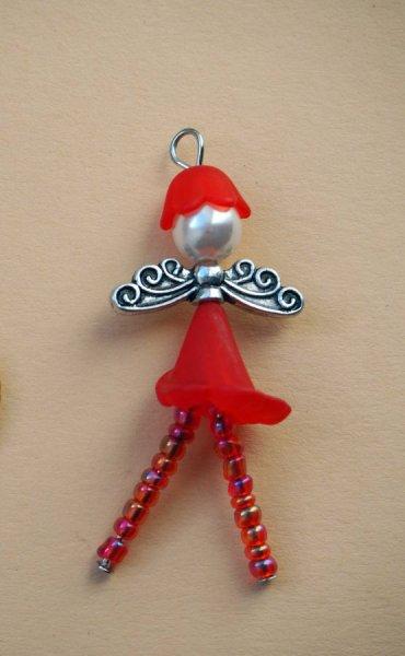 1 Pendentif, ANGE, breloque de Noël, couleur rouge, 51x15mm