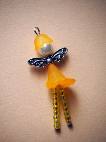 1 Pendentif, ANGE, breloque de Noël, couleur jaune, 51x15mm