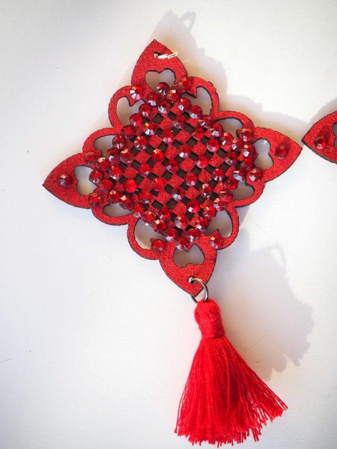 1 Pendentif, caoutchouc et strass , breloque de Noël, couleur rouge, 9x5cm