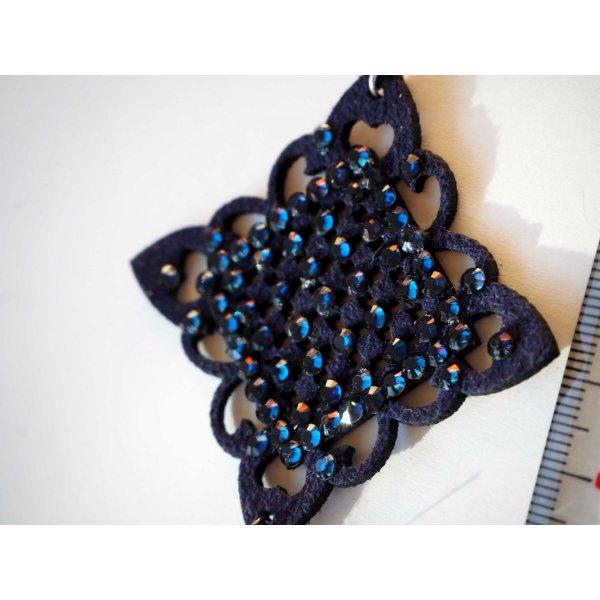 1 Pendentif, caoutchouc et strass , breloque de Noël, couleur bleu marine, 9x5cm