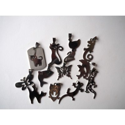 Pendentif, Lézard-Gecko, acier inoxydable, 4x1,5cm
