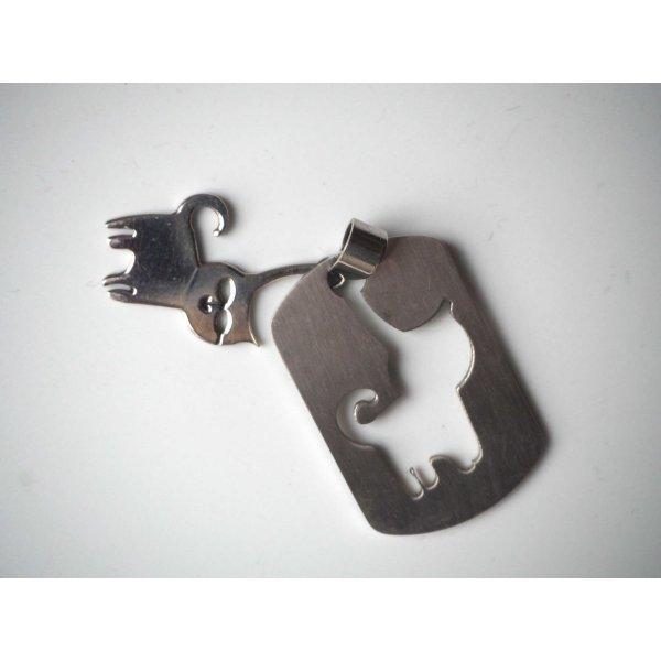 Pendentif, chat puzzle debout, acier inoxydable, 3,5x2,5cm