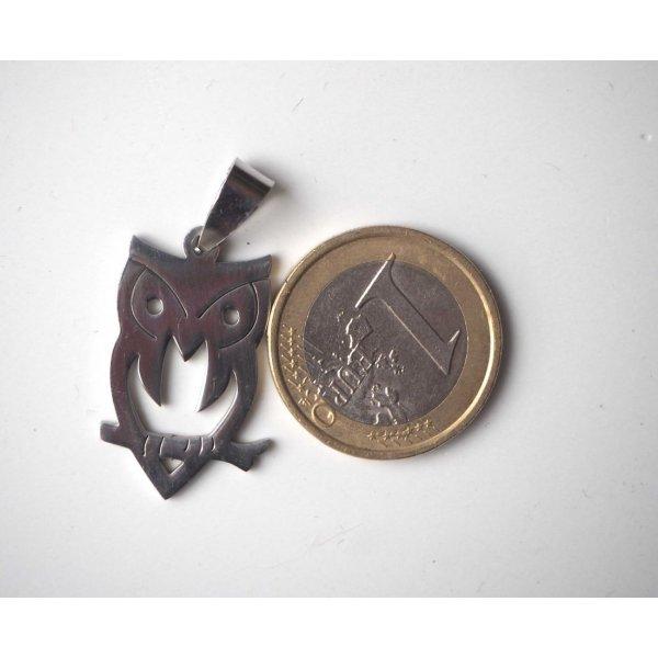 Pendentif, Chouette-Hibou, acier inoxydable, 3x1,5cm