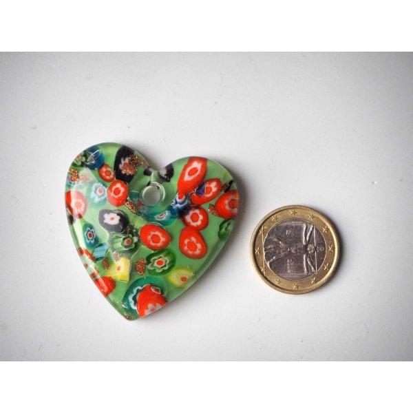 Pendentif, Gros coeur en verre avec millifiori, ton vert, 4,5x4,5cm, ép1cm
