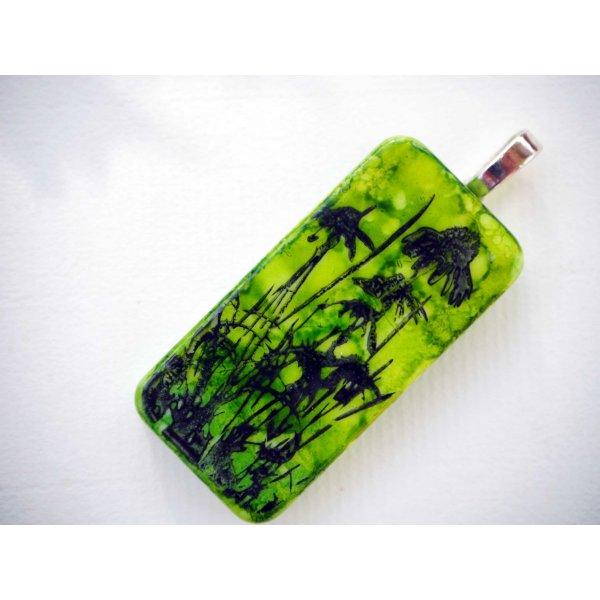 Pendentif domino, 5x2,5cm, peint à l'encre à l'alcool, modèle unique, tons verts avec chardons