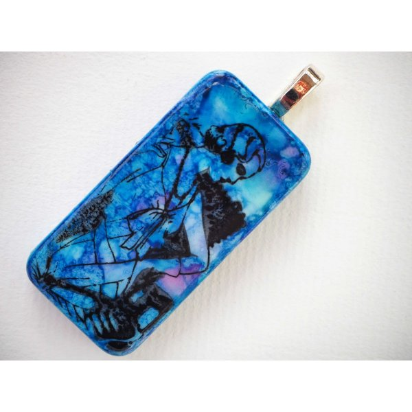 Pendentif domino, 5x2,5cm, peint à l'encre à l'alcool, modèle unique, tons bleus