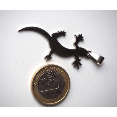 Pendentif, Lézard-Gecko, acier inoxydable, 5x1,5cm