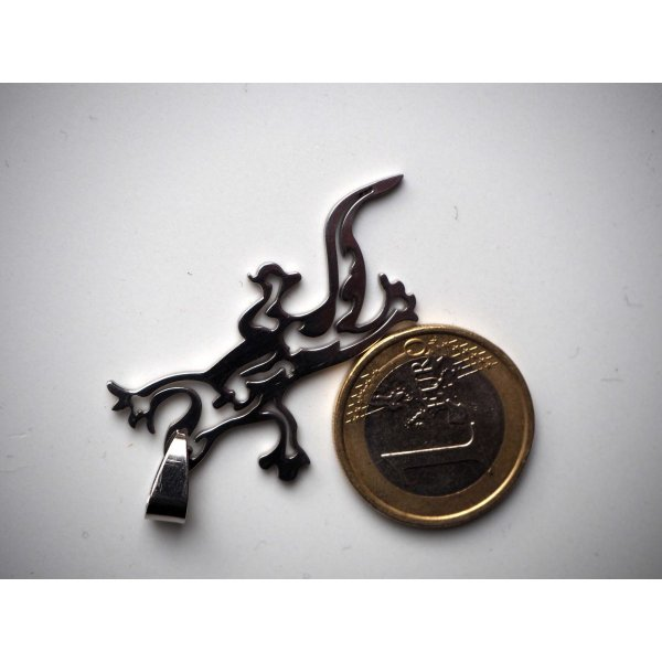 Pendentif, Lézard-Gecko, acier inoxydable, 5x2cm