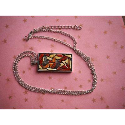 Pendentif mosaIque, 5x2,5cm, tons bruns avec chaîne