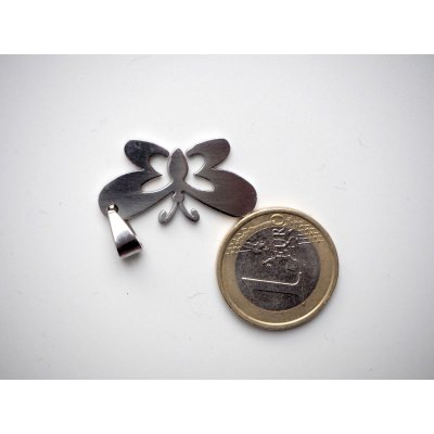 Pendentif, Pa, acier inoxydable, 3,5x1cm