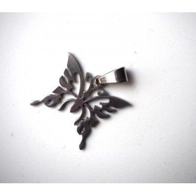 Pendentif, Papillon, acier inoxydable, 2,5x2,5cm