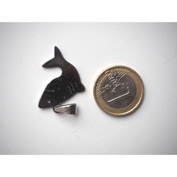 Pendentif, requin, acier inoxydable, 4x1,5cm