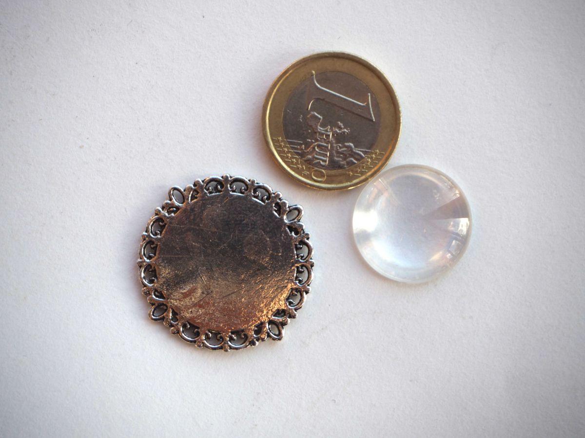 Pendentif, Support cabochon 20mm, argent antique rétro
