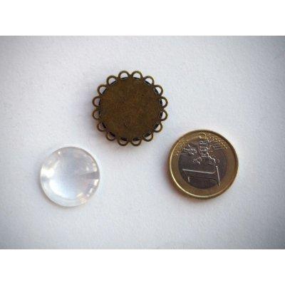 Pendentif, Support cabochon 20mm, bronze antique rétro