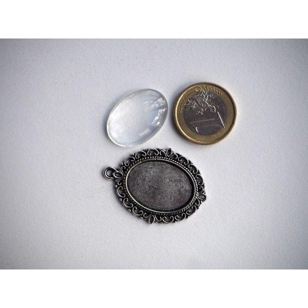 Pendentif, Support cabochon 25x28mm, argent antique rétro