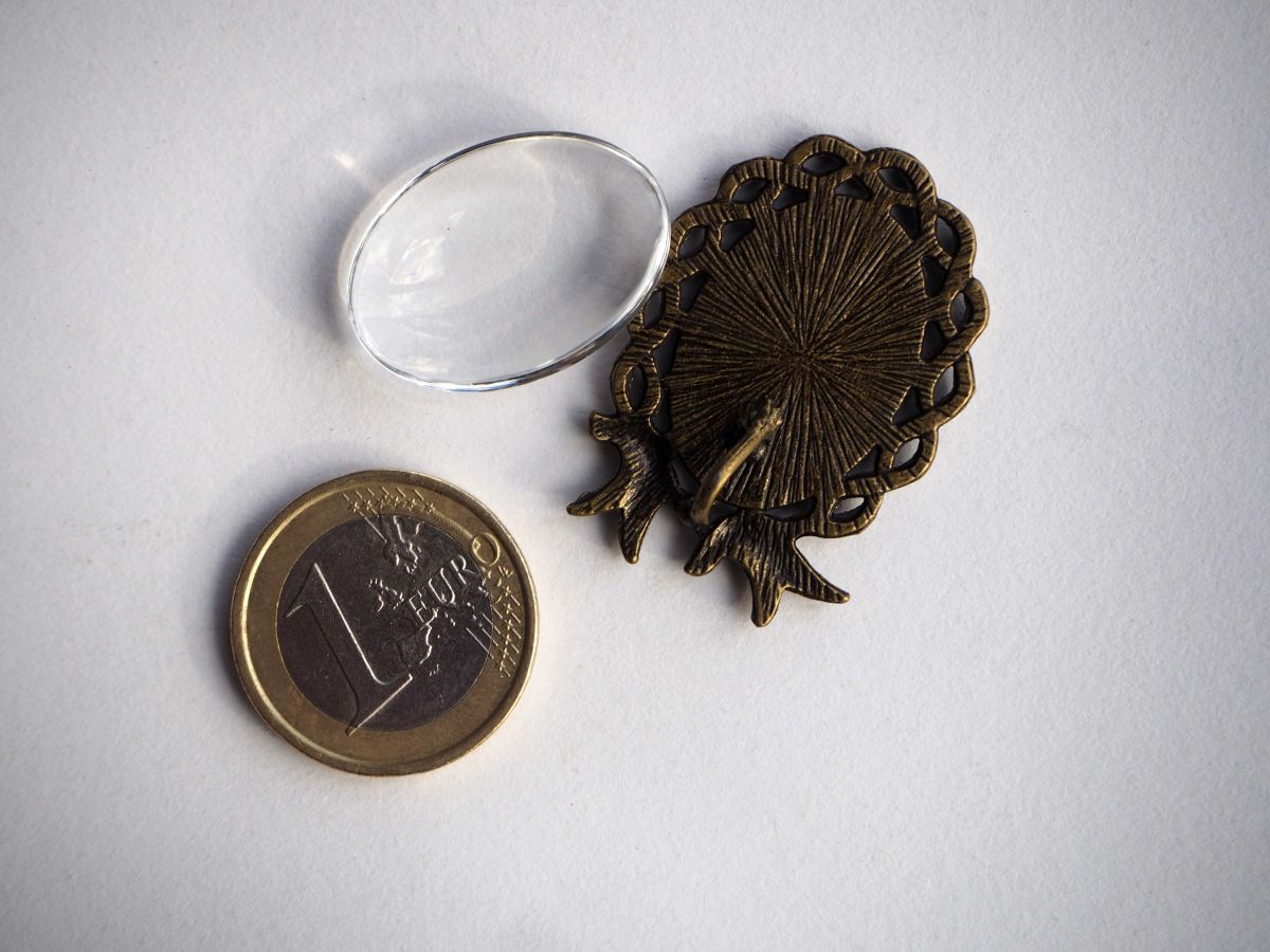 Pendentif, Support cabochon 25x28mm, avec oiseaux bronze antique rétro