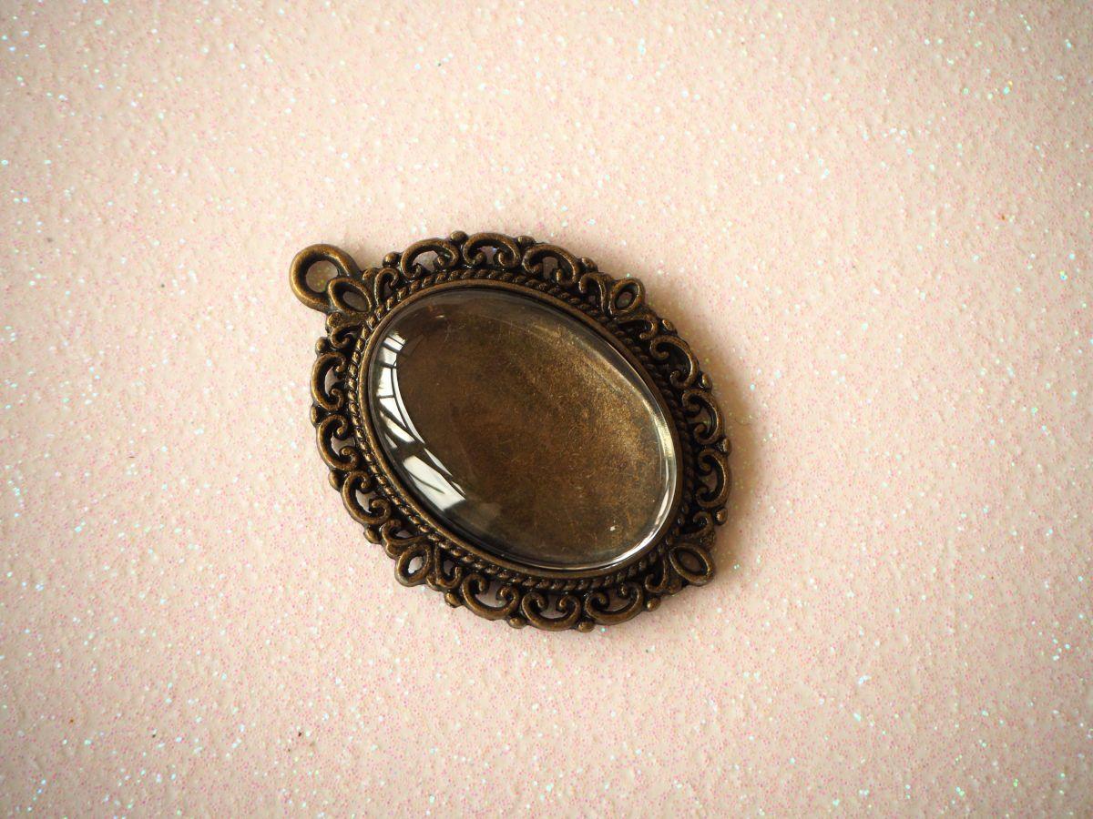 Pendentif, Support cabochon 25x28mm, bronze antique rétro