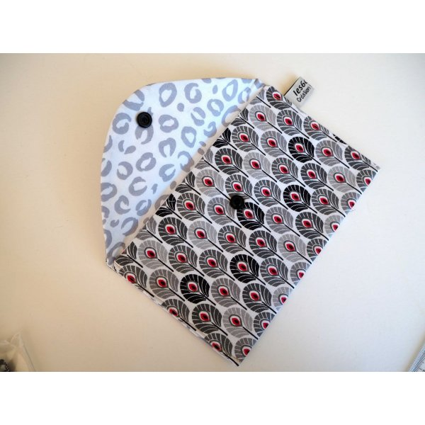Pochette doublée, coton eventails noir, coton blans/gris  19x11cm