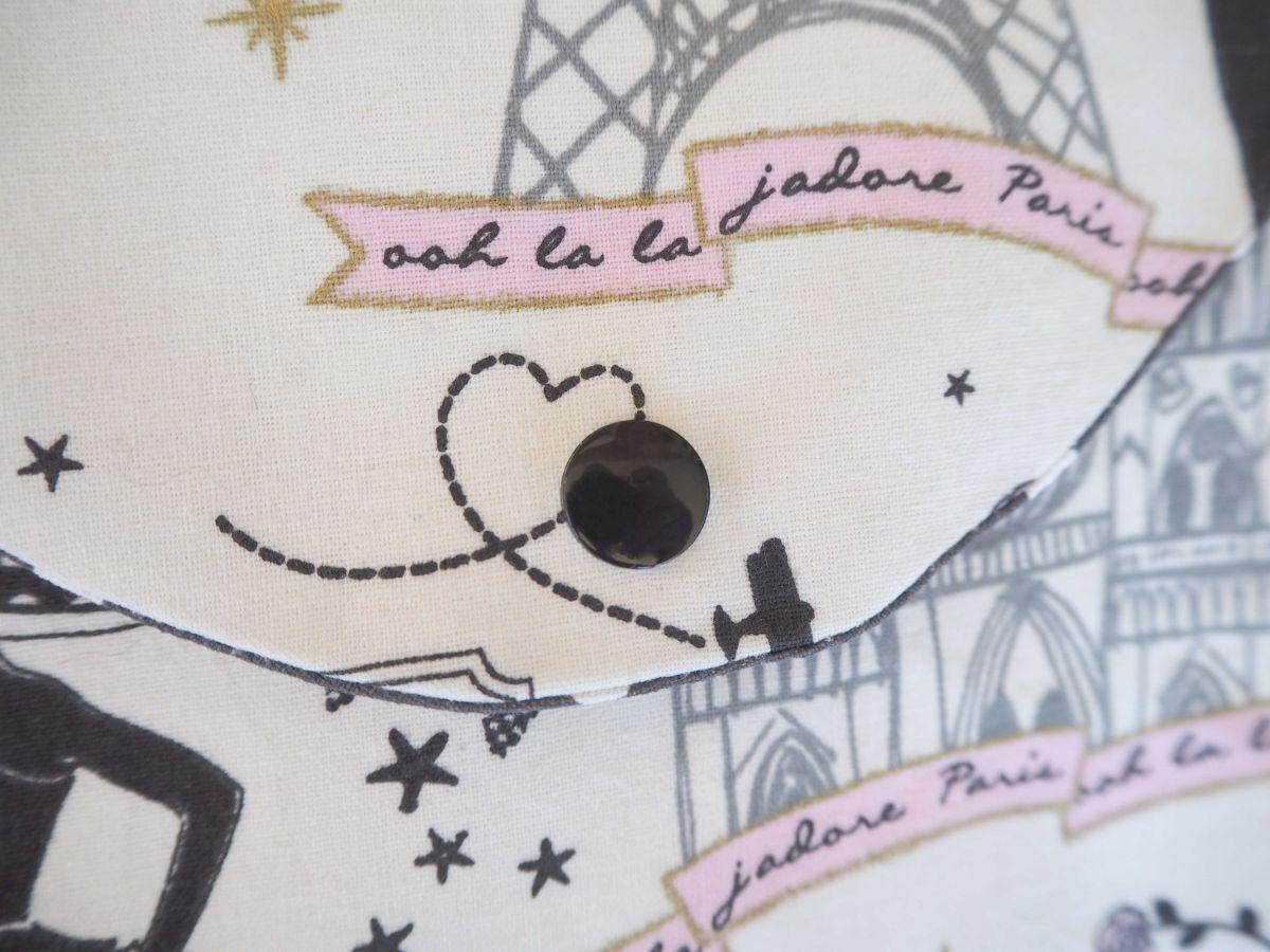 Pochette doublée, coton la Parisienne, int gris pois blancs19x11cm