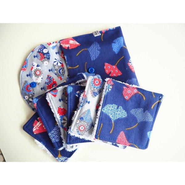 Pochette Nomade + 6 lingettes assorties, lavable, réutilisable, coton bleu avec ginko