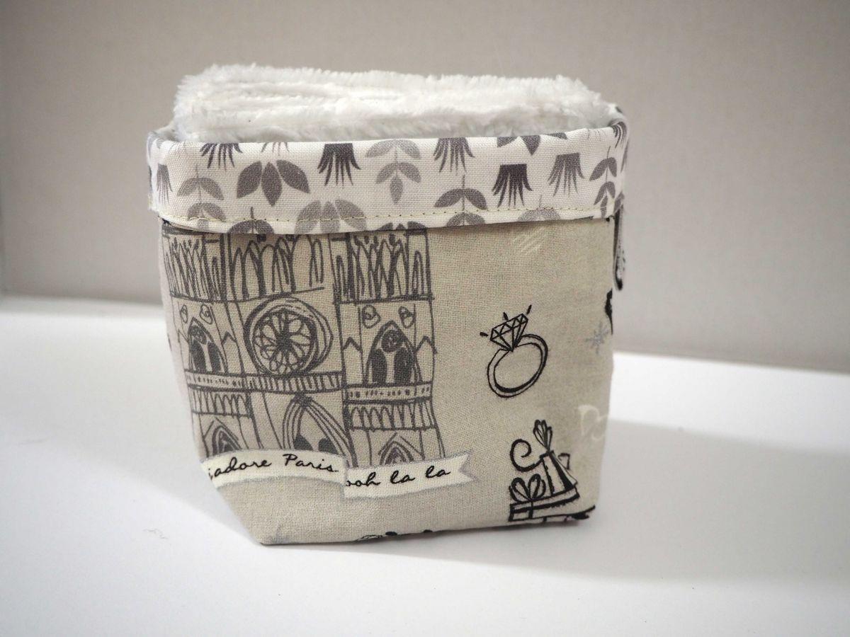 Pochon réversible et 7 lingettes démaquillantes lavables, coton, la parisienne fond taupe avec argenté
