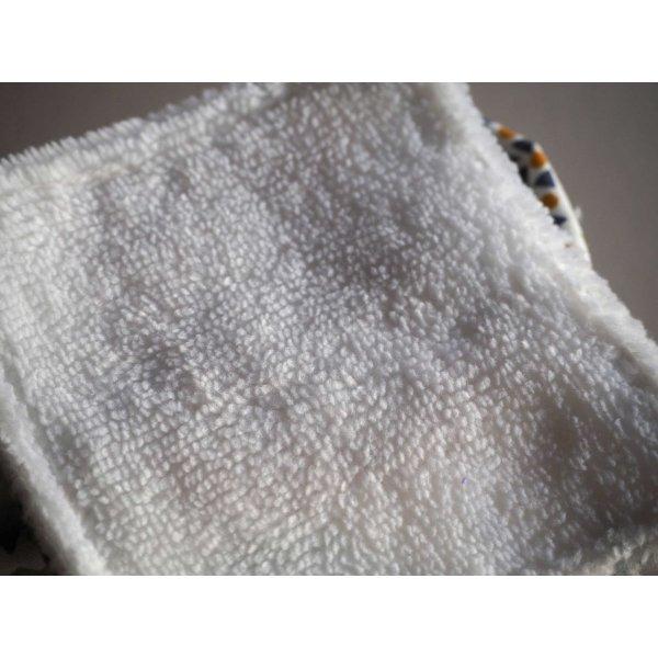 Pochon réversible et 7 lingettes démaquillantes lavables, coton, chats bleus et orange