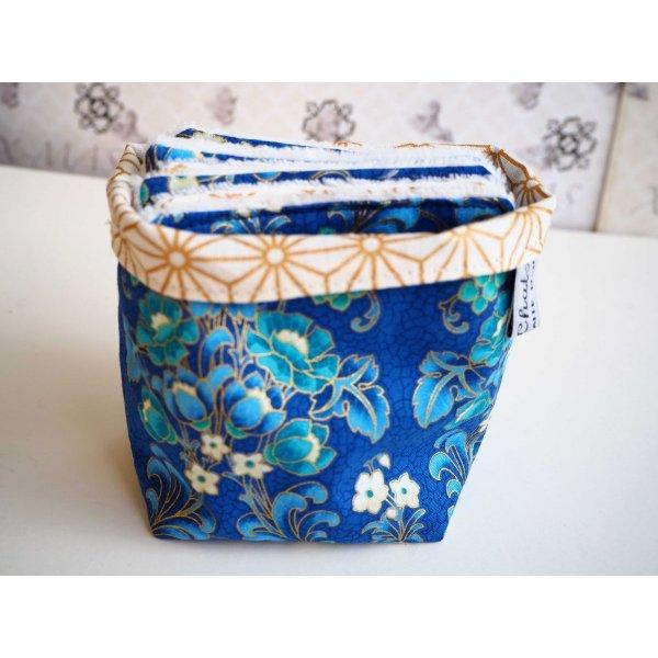 Pochon réversible et 7 lingettes démaquillantes lavables, coton, tissu japonais bleu avec doré