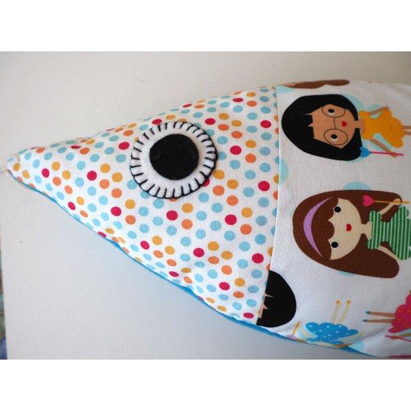 Grand poisson doudou, en coton avec poupées dos en polaire