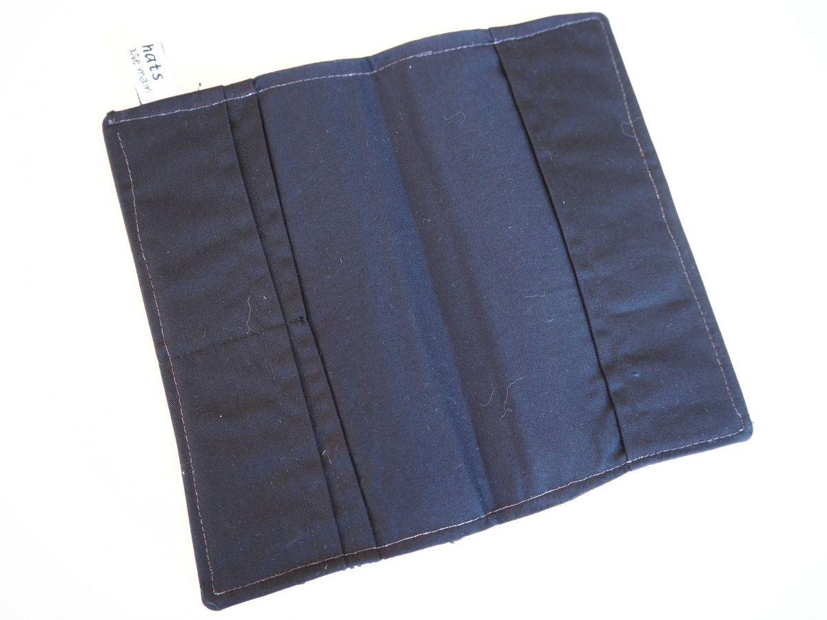 Porte chéquier en tissu, coton la Parisienne, int coton uni noir, 19x11 fermé