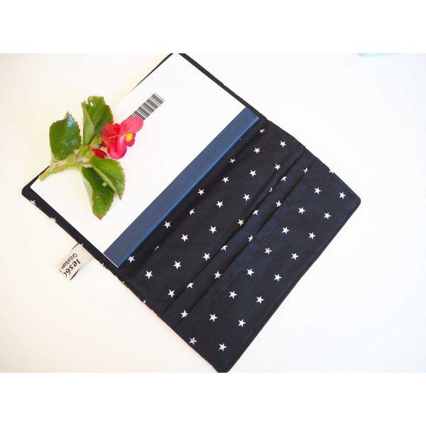 Porte chéquier en tissu, coton espace, int coton uni noir étoiles blanches, 19x11 fermé