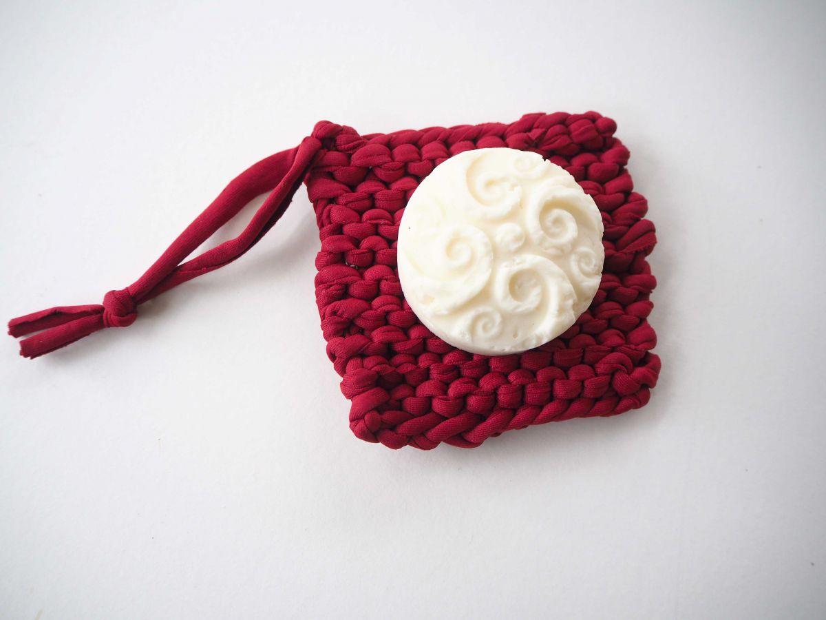 Porte-savon tawashi , lavable, inusable, tricoté main, coton rouge