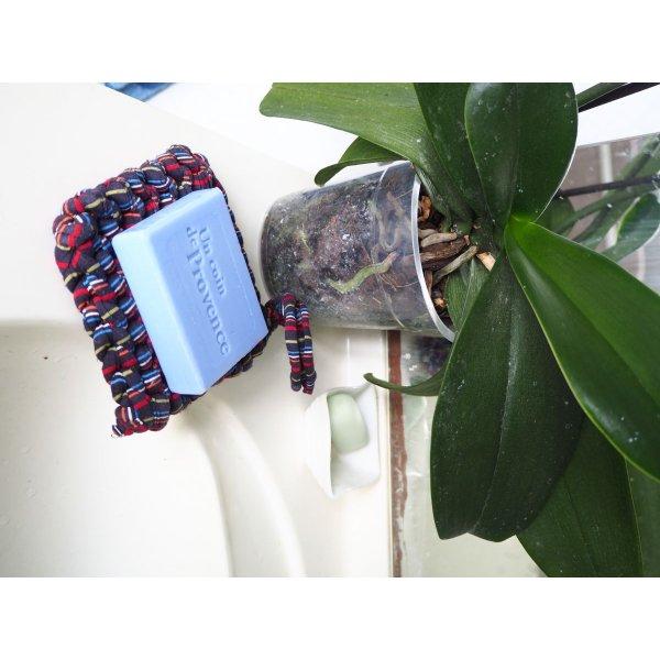 Porte-savon tawashi , lavable, inusable, tricoté main, coton marron noir