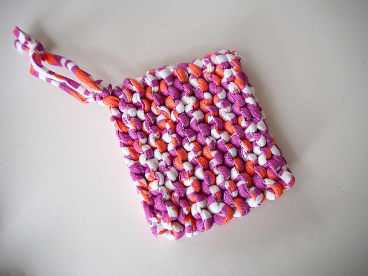 Porte-savon tawashi , lavable, inusable, tricoté main, cotonrse, blanc, orange